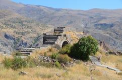 Armenië, vesting Smbataberd hoog in de bergen, 5de eeuw, in de veertiende wordt herbouwd die Royalty-vrije Stock Afbeelding
