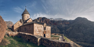 Armenia. Noravank is a 13th century Armenian Apostolic Church monastery, located 122 km from Yerevan in a narrow gorge made by the Amaghu river, nearby the city stock images