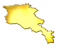 Armenia 3d Golden Map Royalty Free Stock Image