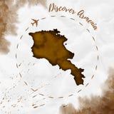 Armenia akwareli mapa w sepiowych kolorach Ilustracja Wektor