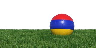 Armenia Armenian flag soccer ball lying in grass world cup 2018. Isolated on white background. 3D Rendering, Illustration Stock Image