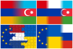 Armenia azerbaijan russia eu netherlands ukraine flags Stock Images