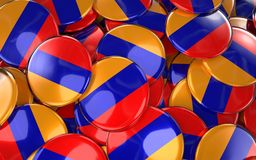 Armenia Badges Background - Pile of Armenian Flag Buttons. Royalty Free Stock Image