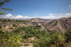 The beautiful mountain gorge of the Azat River. Armenia. The beautiful mountain gorge of the Azat River near the village and the Garni temple Stock Images
