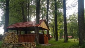 Eco-friendly gazebos for family holidays with friends and for tourists. In Armenia, in the city of Martuni near lake Sevan there is a quiet place of rest wooden stock video
