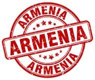 Armenia czerwonego grunge rocznika round znaczek Zdjęcie Stock