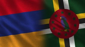 Armenia and Dominica Realistic Half Flags Together. Fabric Texture - High Quality stock photography