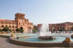 ARMENIA, EREVAN 17 2016 Sierpień: Widok Yerevan główny plac Obrazy Stock