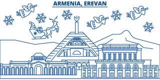 Armenia, Erevan zimy miasto linia horyzontu boże narodzenie nowy rok szczęśliwy wesoło royalty ilustracja