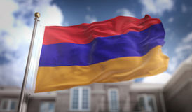 Armenia Flag 3D Rendering on Blue Sky Building Background Royalty Free Stock Photo