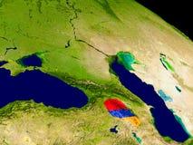 Armenia with flag on Earth Stock Photo