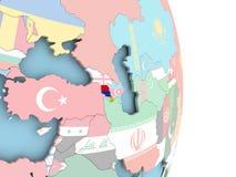 Armenia with flag on globe. Armenia with embedded flag on globe. 3D illustration Stock Images