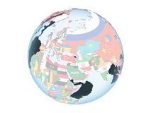 Armenia with flag on globe isolated. Armenia on bright political globe with embedded flag. 3D illustration isolated on white background Royalty Free Stock Image