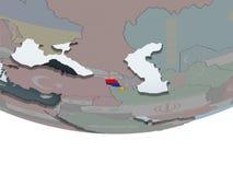 Armenia with flag on globe. Armenia on political globe with embedded flag. 3D illustration Stock Photo