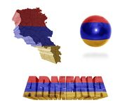 Armenian Symbols. Armenia flag and map in different styles in different textures Stock Photography