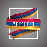 Armenia flag. Official national colors. Armenian 3d realistic ribbon. Waving vector patriotic glory flag stripe sign. Vector illustration background. Icon Stock Photo