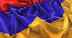 Armenia Flag Ruffled Beautifully Waving Macro Close-Up Shot Stock Photo