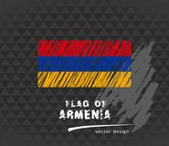 Armenia flag, vector sketch hand drawn illustration on dark grunge background. Vector sketch map of Armenia with flag, hand drawn chalk illustration. Grunge Stock Images
