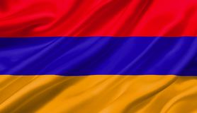 Armenia flag waving with the wind, 3D illustration. 3D rendering Stock Image