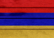 Armenia flag on a wood. Illustration of Armenia flag over a wooden textured surface Stock Photo