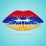 Armenia flaga pomadka Na wargach Odizolowywać Na Białym tle również zwrócić corel ilustracji wektora Zdjęcia Royalty Free