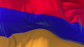 Armenia flaga w zwolnionego tempa Gładkim dmuchaniu w wiatrowym bezszwowym pętli tle royalty ilustracja