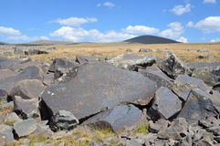 Armenia, General view of the mountain plateau at an altitude of 3200 meters, where the stones are petroglyphs of the 7th century B Royalty Free Stock Images