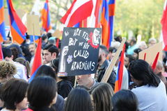 Armenia genocide anniversary demonstration in Vienna. Armenians peacefully demonstrating in Vienna on the anniversary of the Armenian genocide of 1915. call for Stock Photography