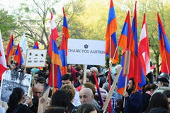 Armenia genocide anniversary demonstration in Vienna. Armenians peacefully demonstrating in Vienna on the anniversary of the Armenian genocide of 1915. call for Stock Photo