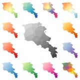 Armenia geometryczny poligonalny, mozaika stylu mapy Obraz Stock