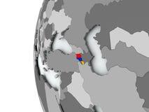 Armenia on globe with flag. Illustration of Armenia on political globe with embedded flag. 3D illustration Stock Image