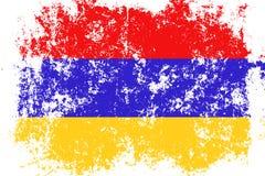 Armenia grunge, stara, porysowana styl flaga, Zdjęcia Stock