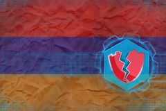 Armenia hacked, attacked by hackers. Digital protection concept. royalty free illustration
