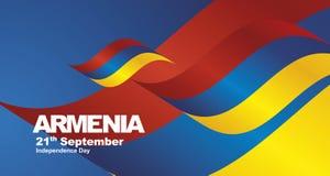 Armenia Independence Day flag ribbon landscape background. National symbol landmark banner vector stock illustration