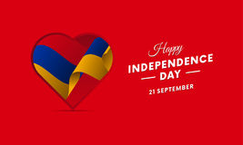 Armenia Independence Day. 21 September. Waving flag in heart. Vector illustration. Armenia Independence Day. 21 September. Waving flag in heart. Vector Royalty Free Stock Photography