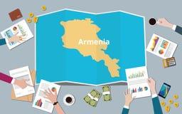 Armenia kraju narodu wzrostowa drużyna dyskutuje z fałd map widokiem od wierzchołka Ilustracji