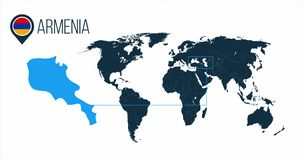 Armenia location on the world map for infographics. All world countries without names. Armenia round flag in the map pin or marker royalty free illustration