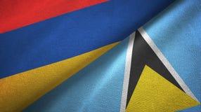 Armenia Lucia i święty dwa flagi tekstylny płótno, tkaniny tekstura ilustracji