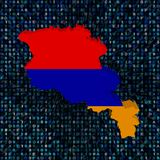 Armenia map flag on hex code illustration. Armenia map flag on abstract shades of blue hex code background illustration Stock Image