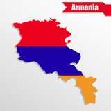 Armenia map with flag inside and ribbon Royalty Free Stock Photo