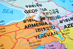 Armenia map. Macro shot of armenia map with push pin Stock Photo