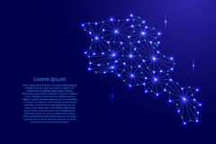 Armenia map of polygonal mosaic lines network, rays, space stars of  illustration. Royalty Free Stock Image