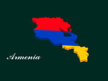 Armenia map vector with the armenian flag. On dark green background Stock Photo