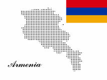 Armenia map vector with polka dots and the armenian flag Royalty Free Stock Images