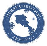 Armenia map. Vintage Merry Christmas Armenia. Armenia map. Vintage Merry Christmas Armenia Stamp. Stylised rubber stamp with county map and Merry Christmas text Stock Photography