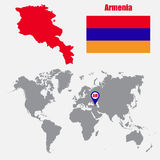 Armenia map on a world map with flag and map pointer. Vector illustration Stock Images