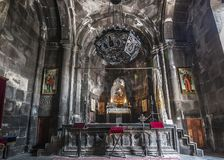 One of the forty altars of the monastery of Geghard. Armenia, the monastery complex of Geghard is called `the monastery of seven churches and forty altars` Royalty Free Stock Images