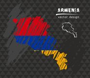 Armenia national vector map with sketch chalk flag. Sketch chalk hand drawn illustration. Vector sketch map of Armenia with flag, hand drawn chalk illustration Stock Photography