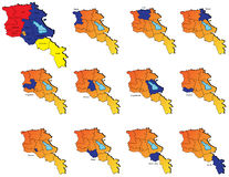 Armenia provinces maps. A set of armenia provinces maps icons Royalty Free Stock Photo