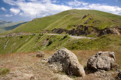 Armenia - route in background. Two big stones in background mountain route - Armenia Royalty Free Stock Photography
